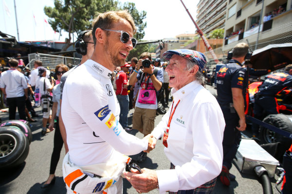 Monte Carlo, Monaco. Sunday 28 May 2017. Jenson Button, McLaren, on the grid with Sir Jackie Stewart. World Copyright: Charles Coates/LAT Images ref: Digital Image DJ5R1812