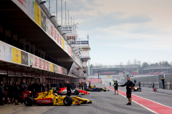 Circuit de Barcelona Catalunya, Barcelona, Spain. Monday 13 March 2017. FIA Formula 2 cars leave the pit-lane for the first time.  Photo: Alastair Staley/FIA Formula 2 ref: Digital Image 580A8899