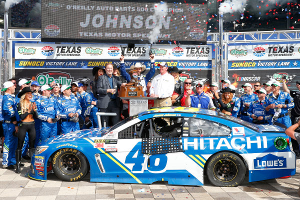 2017 Monster Energy NASCAR Cup Series O'Reilly Auto Parts 500 Texas Motor Speedway, Fort Worth, TX USA Sunday 9 April 2017 Jimmie Johnson celebrates in victory lane  World Copyright: Russell LaBounty/LAT Images ref: Digital Image 17TEX1rl_5236