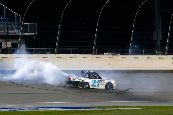 NASCAR Camping World Truck Series TheHouse.com 225 Chicagoland Speedway, Joliet, IL USA Friday 15 September 2017 Johnny Sauter, ISMConnect Chevrolet Silverado celebrates his race win with a burnout  World Copyright: Russell LaBounty LAT Images