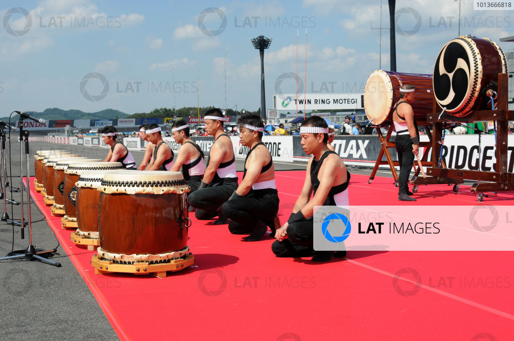 15-18 September, 2011, Twin Ring Motegi JapanTraditional Japanese drummers were part of the opening ceremonies.(c)2011, Paul WebbLAT Photo USA