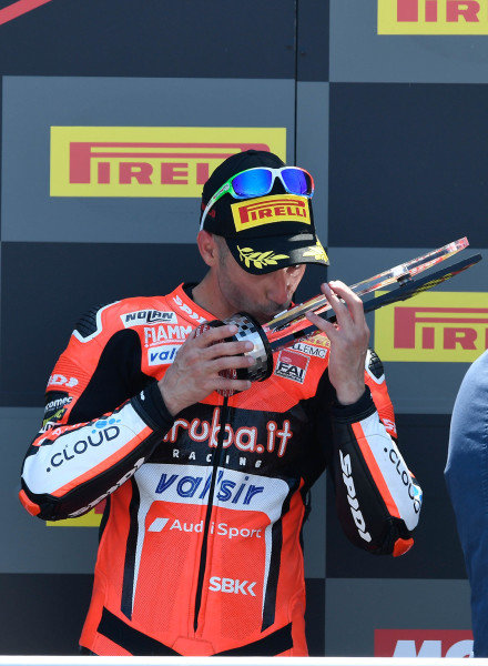 Podium: third place Marco Melandri, Aruba.it Racing-Ducati SBK Team.