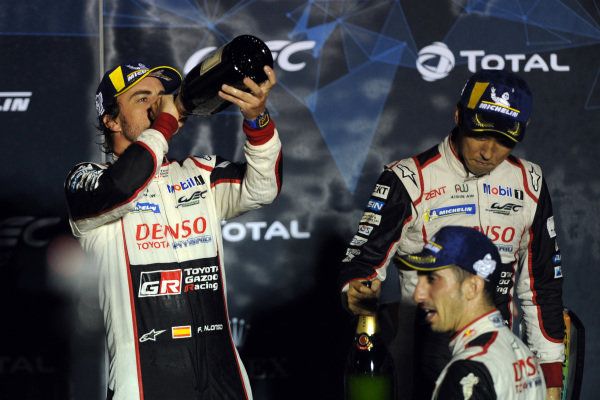 #8 Toyota Gazoo Racing Toyota TS050:  Fernando Alonso celebrates winning