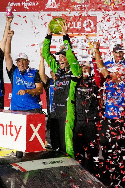 #16: Ross Chastain, Kaulig Racing, Chevrolet Camaro Ellsworth Advisors celebrates his victory