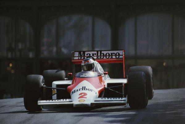 Stefan Johansson, McLaren MP4-3 TAG, during practice.