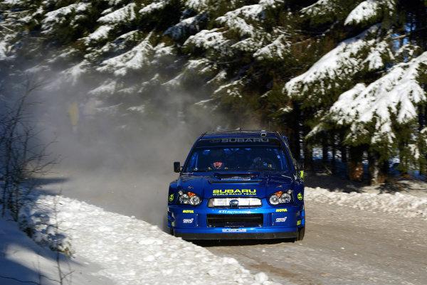 2003 FIA World Rally Championship. Karlstad, Sweden. Rd2.6-9 February 2003.Petter Solberg/Philip Mills (Subaru Impreza WRC '03) 6th position. World Copyright: McKlein/LAT Photographic