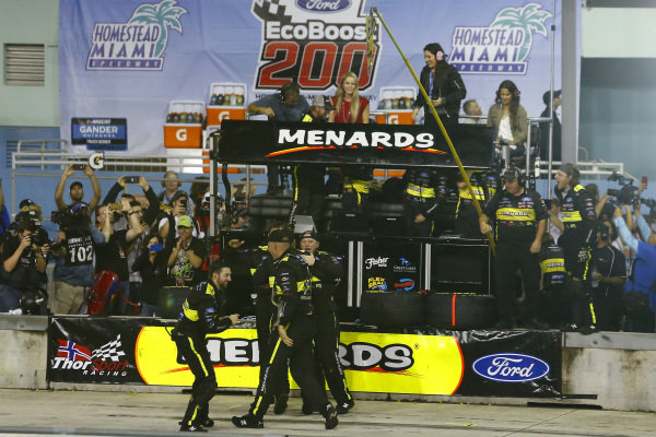 #88: Matt Crafton's, ThorSport Racing, Ford F-150 Jack Links/ Menards crew members  celebrate the championship