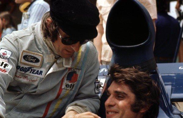 1973 Brazilian Grand Prix.  Interlagos, Sao Paulo, Brazil. 9-11th February 1973.  Jackie Stewart and Francois Cevert (both Tyrrell Ford).  Ref: 73BRA18. World Copyright - LAT Photographic
