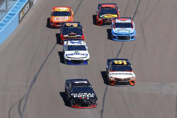 #1: Kurt Busch, Chip Ganassi Racing, Chevrolet Camaro Global Poker and #95: Matt DiBenedetto, Leavine Family Racing, Toyota Camry Procore