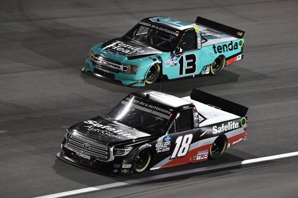 #18: Christian Eckes, Kyle Busch Motorsports, Toyota Tundra Safelite AutoGlass and #13: Johnny Sauter, ThorSport Racing, Ford F-150 Tenda