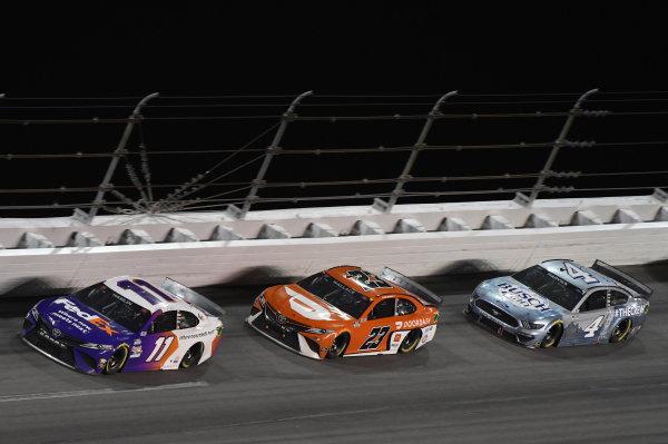 #11: Denny Hamlin, Joe Gibbs Racing, Toyota Camry, #23: Bubba Wallace, 23XI Racing, Toyota Camry, #4: Kevin Harvick, Stewart-Haas Racing, Ford Mustang Busch Light #TheCrew