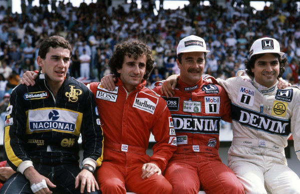 (L to R) Ayrton Senna (BRA) Lotus 98T, 4th place, Alain Prost (FRA) McLaren MP4/2C, 2nd place, Winner Nigel Mansell (GBR) Williams FW11 and Nelson Piquet (BRA) Williams FW11, 3rd place. Formula One World Championship, Rd 14, Portugese Grand Prix, Estoril, 21 September 1986.