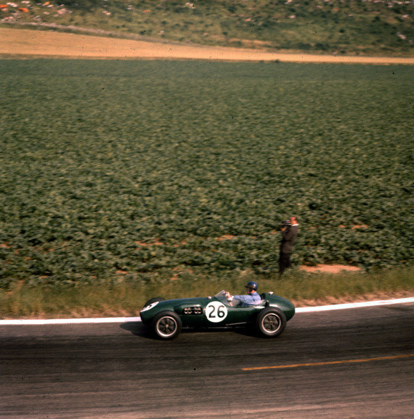 1958 French Grand Prix.Reims, France.4-6 July 1958.Cliff Allison (Lotus 12 Climax).Ref-3/0076.World Copyright - LAT Photographic