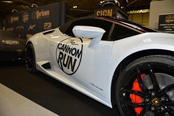 A Lamborghini on the Cannon Run stand.