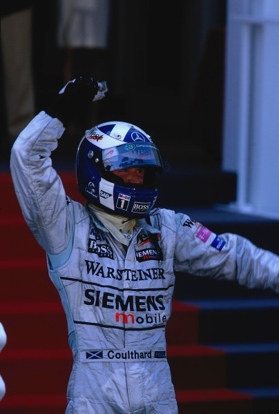 2002 Monaco Grand Prix.Monte Carlo, Monaco. 23-26 May 2002.David Coulthard (McLaren Mercedes) celebrates his 1st position and second victory in the principality.Ref-02 MON 29.World Copyright - LAT Photographic