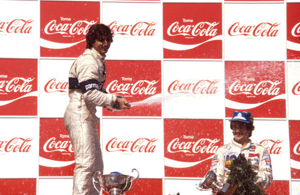 1981 Argentinian Grand Prix.Buenos Aires, Argentina.10-12 April 1981.Nelson Piquet (Brabham Ford) 1st position and Alain Prost (Equipe Renault) 3rd position on the podium.Ref-81ARG 03.World Copyright - LAT Photographic