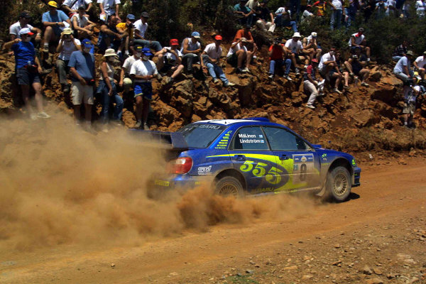 Tommi Makinen in action in the Subaru Impreza WRC03, Acropolis Rally 2003.