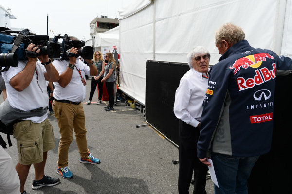 Bernie Ecclestone (GBR) CEO Formula One Group (FOM) and Dr Helmut Marko (AUT) Red Bull Motorsport Consultant at Formula One World Championship, Rd7, Canadian Grand Prix, Race, Montreal, Canada, Sunday 7 June 2015.