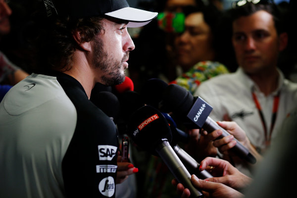 Hungaroring, Budapest, Hungary. Thursday 23 July 2015. Fernando Alonso, McLaren, talks to the press. World Copyright: Steven Tee/LAT Photographic ref: Digital Image _L4R5693