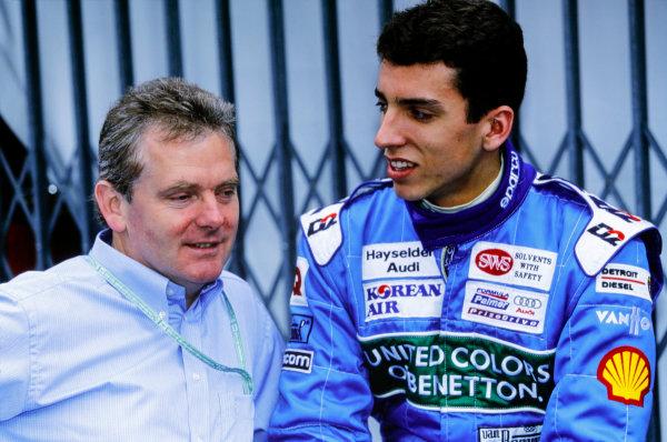 1999 International Formula 3000 Championship. Monte Carlo, Monaco.13 May 1999. Rd 2. Justin Wilson (Team Astromega), in conversation with Jonathan Palmer, portrait.  World Copyright: Gavin Lawrence / LAT Photographic.