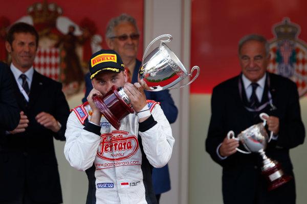 2013 GP2 Series. Round 4.  Monte Carlo, Monaco. 54th May 2013. Saturday Race. Stefano Coletti (MON, Rapax) celebrates his victory on the podium.  World Copyright: Glenn Dunbar/GP2 Series Media Service. Ref: _89P2802