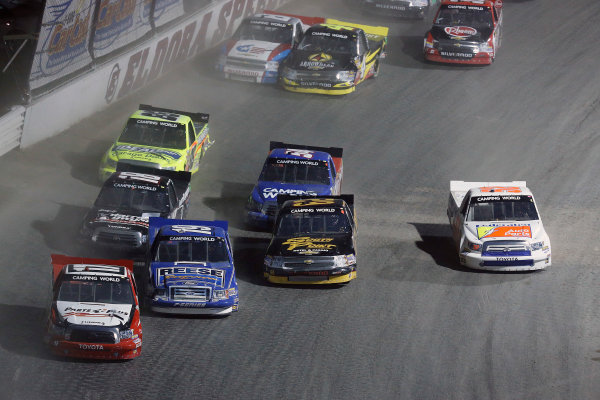 23-24 July, 2013, Rossburg, Ohio, USA Timothy Peters, Dave Blaney, Brendan Gaughan and Ken Schrader race 4-wide © 2013, Michael L. Levitt LAT Photo USA