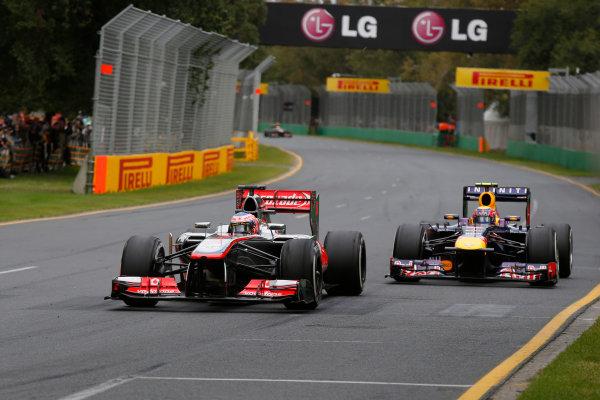 Albert Park, Melbourne, Australia Sunday 17th March 2013 Jenson Button, McLaren MP4-28 Mercedes, leads Mark Webber, Red Bull RB9 Renault.  World Copyright: Charles Coates/  ref: Digital Image _N7T7149