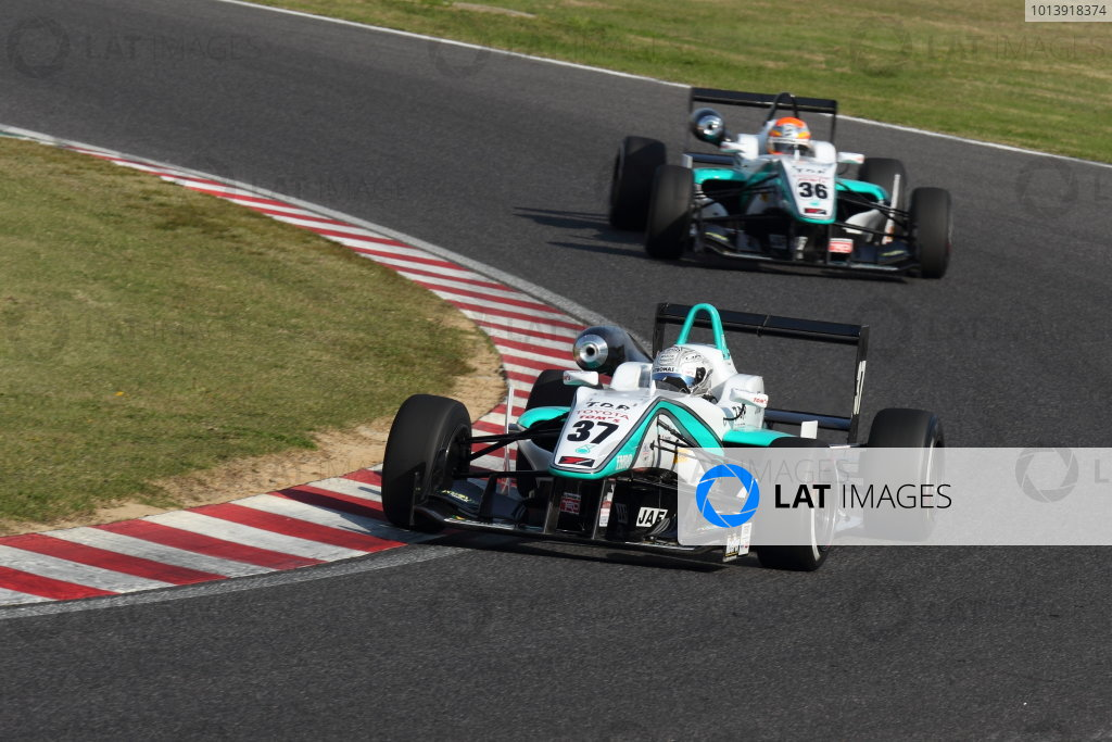 Suzuka, Japan. 13th - 14th April 2013. Rd 1. Race 1 Winner Takamoto Katsuata ( #37 PETRONAS TEAM TOM'S ) action World Copyright: Yasushi Ishihara/LAT Photographic Ref: 2013_JF3_Rd1&2_002