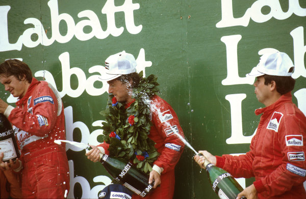 Montreal, Canada.10-12 June 1983.Rene Arnoux (Ferrari) 1st position, Eddie Cheever (Equipe Renault) 2nd position and Patrick Tambay (Ferrari) 3rd position on the podium.Ref-83 CAN 09.World Copyright - LAT Photographic