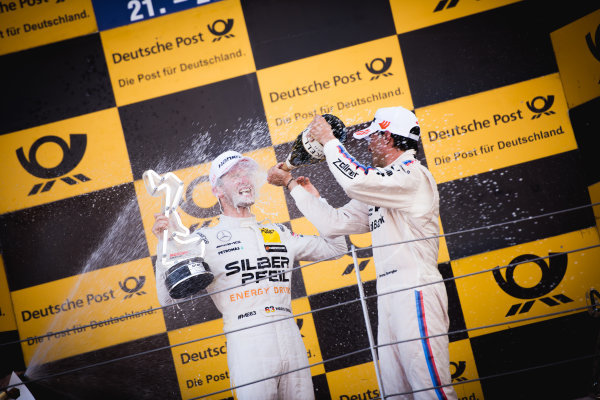 2017 DTM Round 5 Moscow Raceway, Moscow, Russia Sunday 23 July 2017. Podium:  Maro Engel, Mercedes-AMG Team HWA, Mercedes-AMG C63 DTM and Bruno Spengler, BMW Team RBM, BMW M4 DTM World Copyright: Evgeniy Safronov/LAT Images ref: Digital Image SafronovEvgeniy_2017_DTM_MRW_San-200