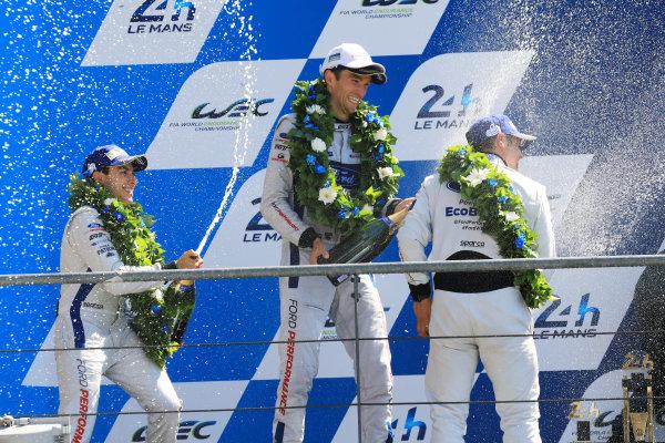 2017 Le Mans 24 Hours Circuit de la Sarthe, Le Mans, France. Sunday 18 June 2017 GTE Pro podium: second place Andy Priaulx, Harry Tincknell, Pipo Derani, Ford Chip Ganassi Racing World Copyright: Nikolaz Godet/LAT Images ref: Digital Image 24LM-re-17209