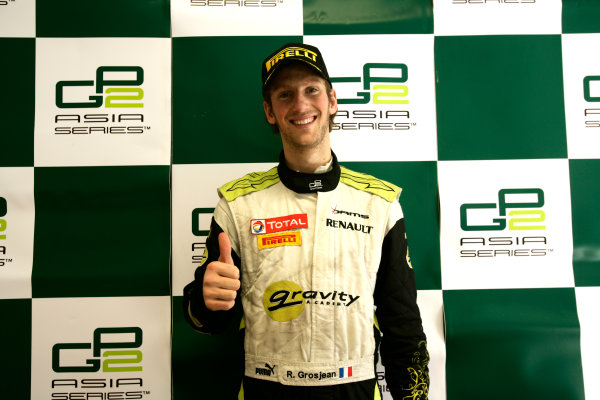 Imola, Italy. 20th March 2011. Sunday Race.Romain Grosjean, (FRA, Dams) in the press conference. Portrait.    World Copyright: Drew Gibson/GP2 Media Service.ref: Digital Image _Y8P0605