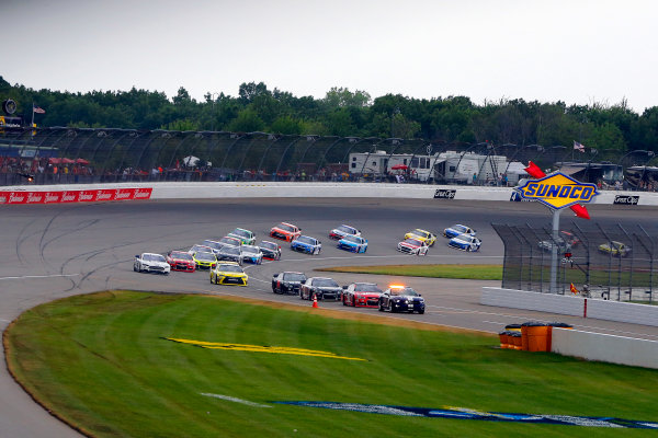 12-14 June, 2015, Brooklyn, Michigan USA The field pulls onto pit road for the final time as rain halts the race ?2015, Russell LaBounty LAT Photo USA