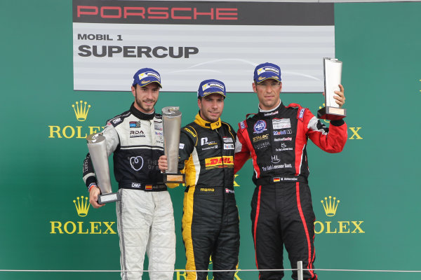 Porsche Supercup Round 4. Silverstone Circuit, Northamptonshire, England. Sunday 5th July 2015. 1. Philipp Eng (A/Market Leader Team by Project 1) 2. Alex Riberas (E/The Heart of Racing by Lechner) 3. Michael Ammerm?ller (D/Lechner Racing Middle East) World Copyright: Jakob Ebrey/LAT Photographic