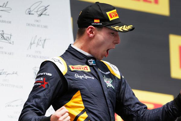 2015 GP2 Series Round 2. Circuit de Catalunya, Barcelona, Spain. Sunday 10 May 2015. Podium. Alex Lynn (GBR, DAMS). Photo: Zak Mauger/GP2 Series Media Service. ref: Digital Image _L0U5866