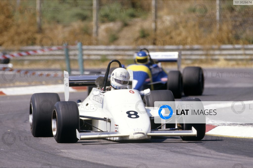 Enna-Pergusa, Sicily, Italy. 28 July 1985. Rd 8. Christian Danner, March 85B-Cosworth, 3rd position, leads Tomas Kaiser, March 85B-Cosworth, retired, action. World Copyright: LAT Photographic. Ref: Colour Transparency.
