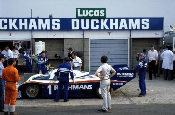 The Rothmans Porsche 956 of Jacky Ickx (BEL) and Derek Bell (GBR) makes a pitstop on the way to a 2nd place finish.