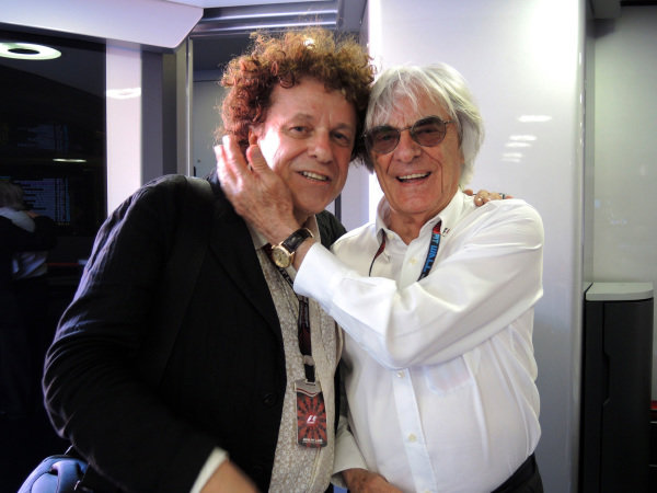 (L to R): Leo Sayer (GBR) and Bernie Ecclestone (GBR) CEO Formula One Group (FOM). Formula One World Championship, Rd8, British Grand Prix, Race Day, Silverstone, England, Sunday 30 June 2013.