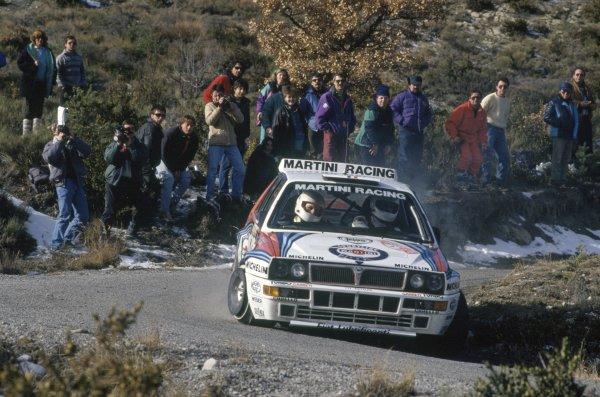 1992 World Rally Championship.Monte Carlo Rally, Monaco. 23-28 January 1992.Didier Auriol/Bernard Occelli (Lancia Delta HF Integrale), 1st position.World Copyright: LAT PhotographicRef: 35mm transparency 92RALLY01