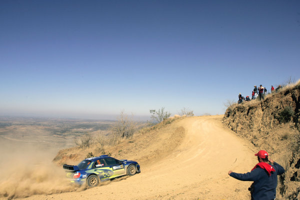 2005 FIA World Rally Champs. Round threeRally Mexico.10th - 13th March 2005.Petter Solberg, Subaru, action.World Copyright: McKlein/LAT