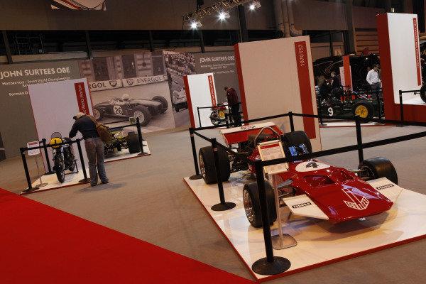 John Surtees (GBR) display. Autosport International Show, NEC, Birmingham, England, Day One, 9 January 2014.