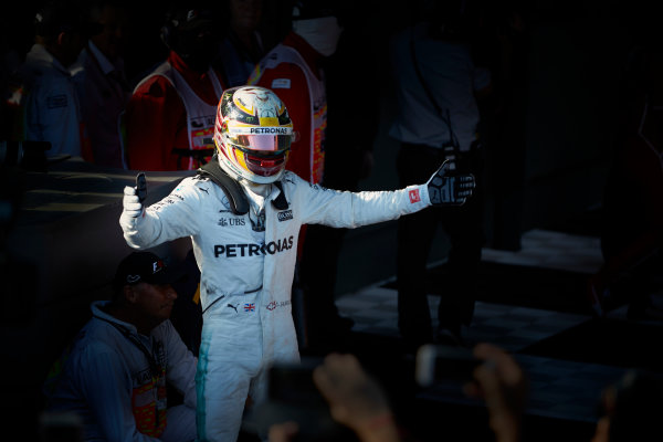 Albert Park, Melbourne, Australia. Sunday 26 March 2017. Lewis Hamilton, Mercedes AMG, 2nd Position, celebrates in Parc Ferme.  World Copyright: Steve Etherington/LAT Images ref: Digital Image SNE25224