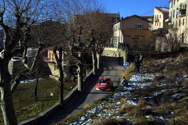 2003 FIA World Rally Championship. Monte Carlo, Monaco. Rd1.23-26 January 2003.Gilles Panizzi/Herve Panizzi (Peugeot 206 WRC). World Copyright: McKlein/LAT Photographic