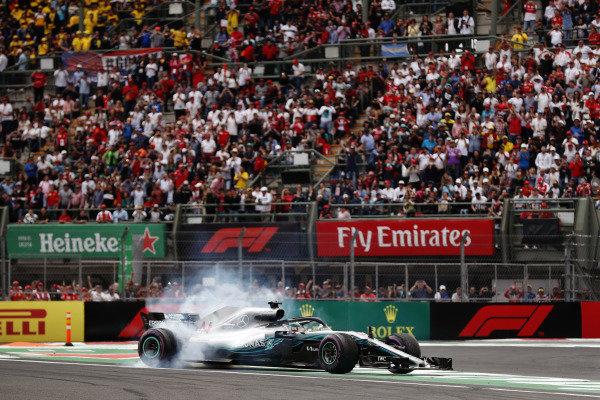 Lewis Hamilton, Mercedes AMG F1 W09 EQ Power+, performs a doughnut as he celebrates winning his fifth World Championship