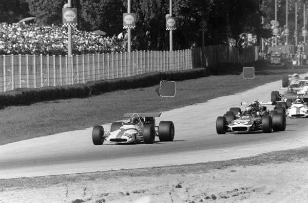 Pedro Rodriguez, BRM P153 leads Jackie Stewart, March 701 Ford.