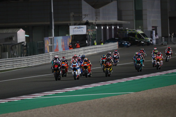 Start action, Marco Bezzecchi, Sky Racing Team VR46 leads.