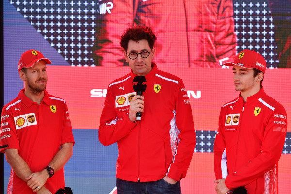 Sebastian Vettel, Ferrari, Mattia Binotto, Team Principal Ferrari, and Charles Leclerc, Ferrari, at the Federation Square event