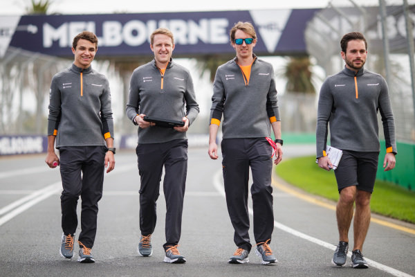 Lando Norris, McLaren, walks the track