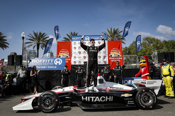 Josef Newgarden, Team Penske Chevrolet, celebrates, podium, winner