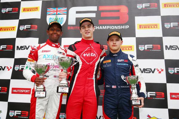 Podium Race 2 Josh Mason (GBR) Lanan Racing BRDC F3 Nico Verrone (ARG) Hillspeed BRDC F3 Neil Verhagen (USA) Double R Racing BRDC F3